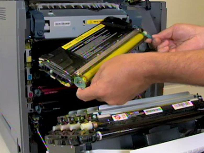 Remove the used toner cartridge, and then set it aside