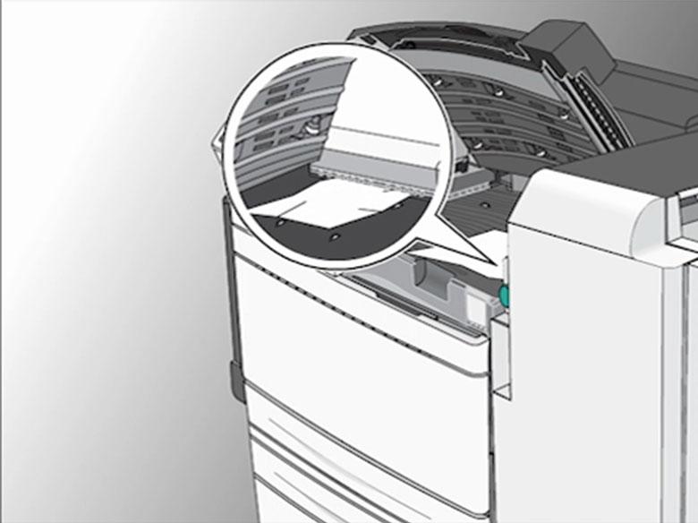 Remova os atolamentos da tampa F (transportador de papel)