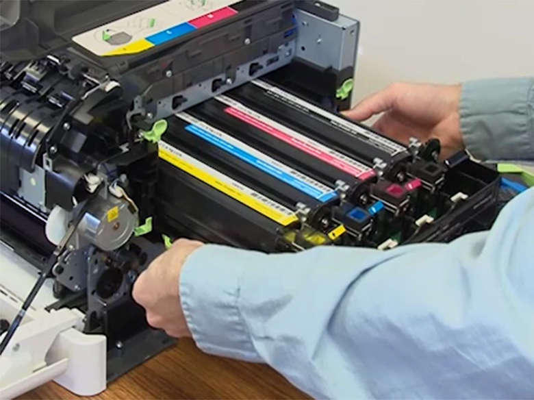 Remove the used imaging kit from the printer