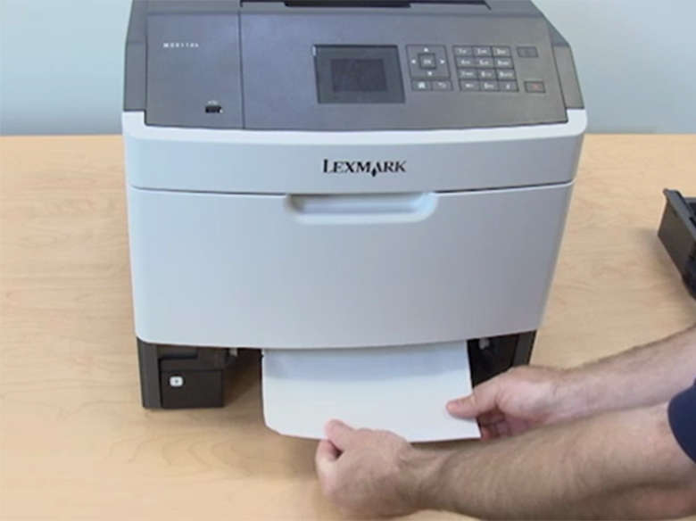 Remove jams from the tray indicated on the printer display