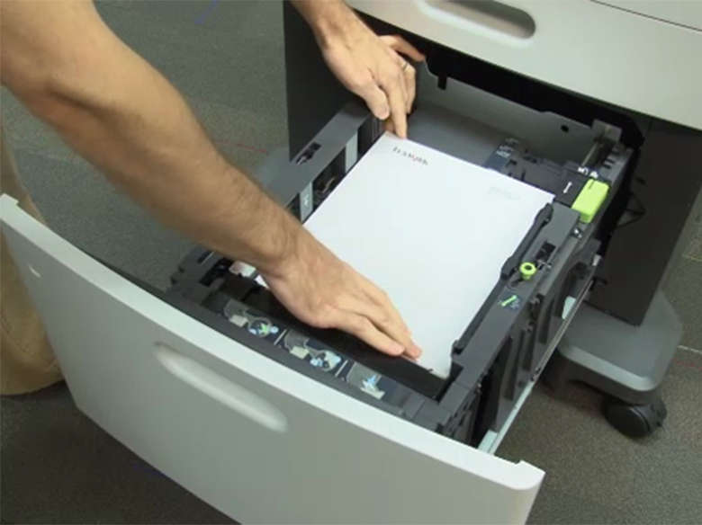 Load the high capacity feeder for two-sided (duplex) printing ‑ without a stapler