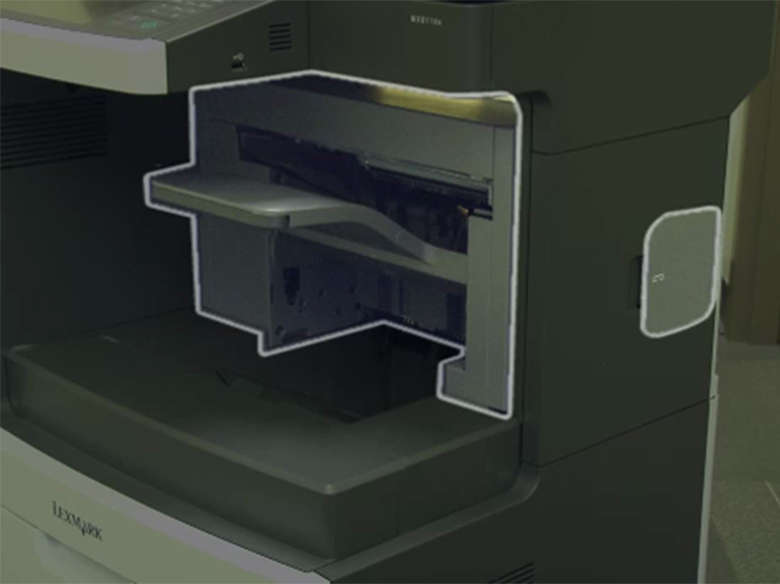 Load the high capacity feeder for one‑ or two‑sided printing ‑ with a stapler