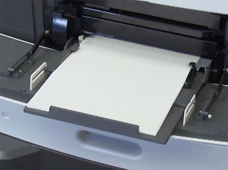 Load paper for two-sided (duplex) printing ‑ without stapler