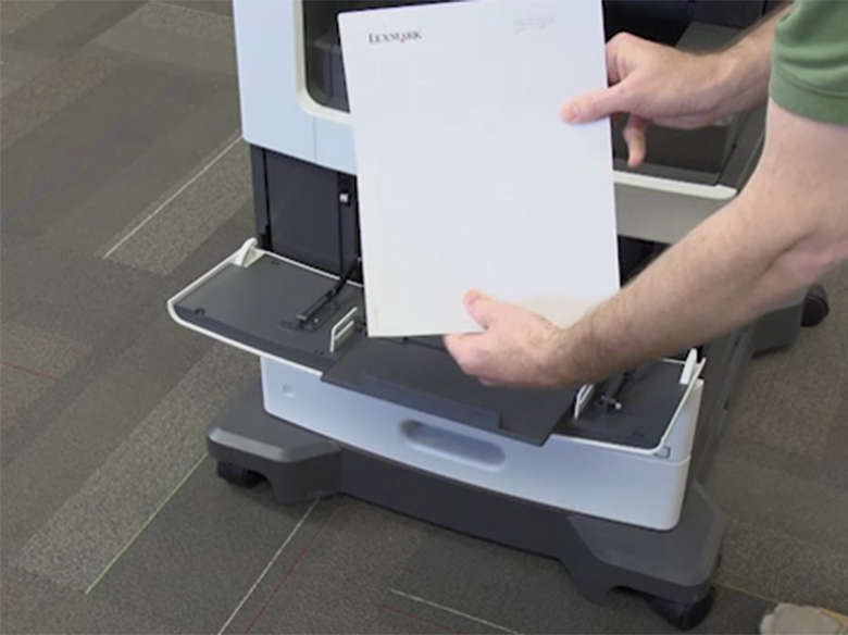 Load paper for one-sided (simplex) printing ‑ without stapler