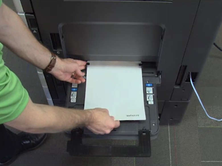 Load paper for two‑sided printing ‑ without an optional finisher