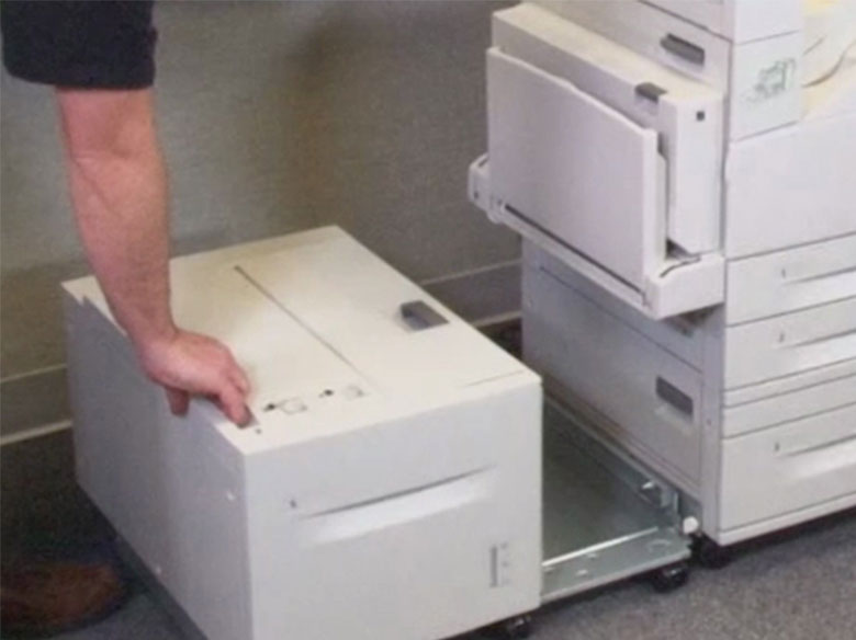 If the printer has a high‑capacity input tray, then slide it out to access Doors B and C