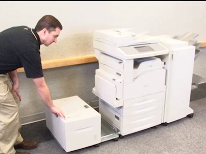 If the printer has a high capacity input tray, then slide it out to access Doors B and C