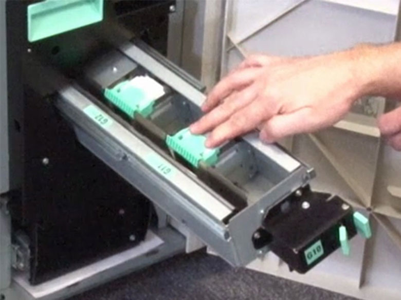 Insert the staple cartridge stacker